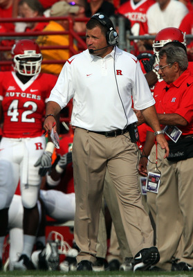 PISCATAWAY, NJ - SEPTEMBER 07:  Head coach Greg Schiano of the Rutgers Scarlet Knights looks on during action against the Cincinnati Bearcats at Rutgers Stadium on September 7, 2009 in Piscataway, New Jersey.  (Photo by Jim McIsaac/Getty Images)