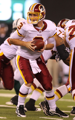EAST RUTHERFORD, NJ - AUGUST 27:  John Beck #3 of the Washington Redskins  in action against  the New York Jets during their preseason game on August 27, 2010 at the New Meadowlands Stadium  in East Rutherford, New Jersey.  (Photo by Al Bello/Getty Images