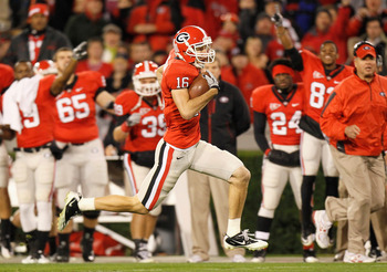ATHENS, GA - NOVEMBER 27:  Kris Durham #16 of the Georgia Bulldogs takes this reception down the field for a touchdown against the Georgia Tech Yellow Jackets at Sanford Stadium on November 27, 2010 in Athens, Georgia.  (Photo by Kevin C. Cox/Getty Images