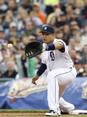 DETROIT, MI - MAY 14:  Miguel Cabrera #24 of the Detroit Tigers makes the put out in the third inning at Comerica Park on May 14, 2011 in Detroit, Michigan. The Tigers defeated the Royals 3-0.  (Photo by Leon Halip/Getty Images)
