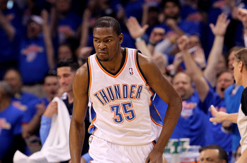 OKLAHOMA CITY, OK - MAY 15:  Forward Kevin Durant #35 of the Oklahoma City Thunder reacts after making a three-point shot against the Memphis Grizzlies in Game Seven of the Western Conference Semifinals in the 2011 NBA Playoffs on May 15, 2011 at Oklahoma