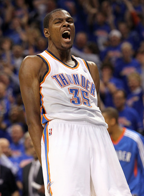 OKLAHOMA CITY, OK - MAY 15:  Forward Kevin Durant #35 of the Oklahoma City Thunder reacts against the Memphis Grizzlies in Game Seven of the Western Conference Semifinals in the 2011 NBA Playoffs on May 15, 2011 at Oklahoma City Arena in Oklahoma City, Ok