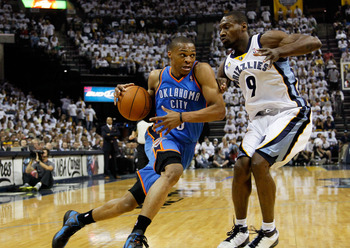 MEMPHIS, TN - MAY 13:  Russell Westbrook #0 of the Oklahoma City Thunder drives against Tony Allen #9 of the Memphis Grizzlies in Game Six of the Western Conference Semifinals in the 2011 NBA Playoffs at FedExForum on May 13, 2011 in Memphis, Tennessee.