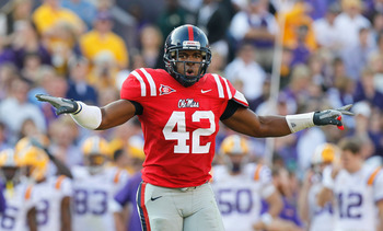 BATON ROUGE, LA - NOVEMBER 20:  D.T. Shackelford #42 of the Ole Miss Rebels against the Louisiana State University Tigers at Tiger Stadium on November 20, 2010 in Baton Rouge, Louisiana.  (Photo by Kevin C. Cox/Getty Images)