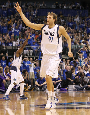 DALLAS, TX - MAY 06:  Forward Dirk Nowitzki #41 of the Dallas Mavericks reacts after making a three-point shot against the Los Angeles Lakers in Game Three of the Western Conference Semifinals during the 2011 NBA Playoffs on May 6, 2011 at American Airlin