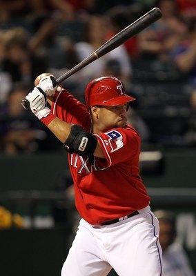 ARLINGTON, TX - MAY 17:  Catcher Max Ramirez #51 of the Texas Rangers on May 17, 2010 at Rangers Ballpark in Arlington, Texas.  (Photo by Ronald Martinez/Getty Images)