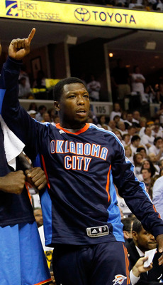 MEMPHIS, TN - MAY 13:  Serge Ibaka #9, Kendrick Perkins #5 and Nate Robinson #3 of the Oklahoma City Thunder react after a basket and a foul against the Memphis Grizzlies in Game Six of the Western Conference Semifinals in the 2011 NBA Playoffs at FedExFo