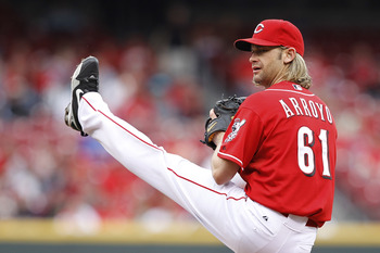 CINCINNATI, OH - MAY 1: Bronson Arroyo #61 of the Cincinnati Reds pitches against the Florida Marlins at Great American Ball Park on May 1, 2011 in Cincinnati, Ohio. The Marlins defeated the Reds 9-5. (Photo by Joe Robbins/Getty Images)