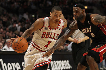 The past two Most Valuable Players in Derrick Rose (left) and LeBron James hope to put their teams in the NBA Finals.
