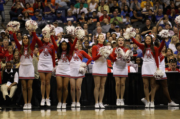 SAN ANTONIO, TX - MARCH 25:  The Richmond Spiders cheerleaders perform during the southwest regional of the 2011 NCAA men's basketball tournament against the Kansas Jayhawks at the Alamodome on March 25, 2011 in San Antonio, Texas.  (Photo by Ronald Marti