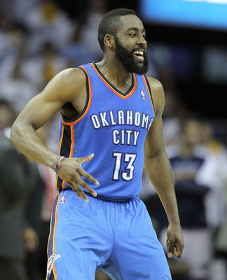 MEMPHIS, TN - MAY 09:  James Harden #13 of the Oklahoma City Thunder celebrates during the game against the Memphis Grizzlies in Game Four of the Western Conference Semifinals in the 2011 NBA Playoffs at FedExForum on May 9, 2011 in Memphis, Tennessee.The