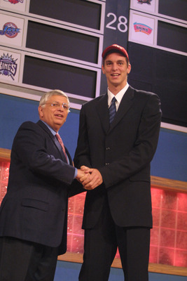 27 Jun 2001:  NBA Commisioner David Stern congratulates Pau Gasol of Barcelona on being the third pick in the NBA Draft by the Atanta Hawks at the Theatre in Madison Square Garden in New York City. Mandatory Credit: Al Bello/ALLSPORT NOTE TO USER: It is e