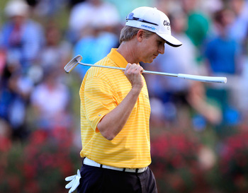 PONTE VEDRA BEACH, FL - MAY 15:  David Toms reacts after missing a par putt on the first playoff hole during the final round of THE PLAYERS Championship held at THE PLAYERS Stadium course at TPC Sawgrass on May 15, 2011 in Ponte Vedra Beach, Florida.  (Ph