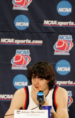 SALT LAKE CITY - MARCH 18:  Adam Morrison #3 of the Gonzaga Bulldogs listens to questions form reporters at a press conferense following Gonzaga's 90-80 win against the Indiana Hoosiers during the Second Round of the 2006 NCAA Men's Basketball Tournament