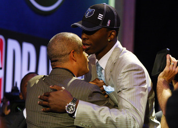NEW YORK - JUNE 25: Second overall draft pick by the Memphis Grizzlies,  Hasheem Thabeet is congratulated by members of his entourage during the 2009 NBA Draft at the Wamu Theatre at Madison Square Garden June 25, 2009 in New York City. NOTE TO USER: User