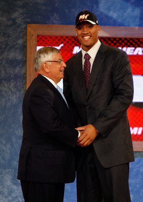 NEW YORK - JUNE 26:  NBA Commissioner David Stern shakes hands with number two draft pick for the Miami Heat, Michael Beasley during the 2008 NBA Draft at the Wamu Theatre at Madison Square Garden June 26, 2008 in New York City. NOTE TO USER: User express