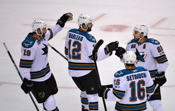 VANCOUVER, CANADA - MAY 15:  Patrick Marleau #12 of the San Jose Sharks celebrates his second period goal with teammate Dan Boyle #22 against the Vancouver Canucks in Game One of the Western Conference Finals during the 2011 Stanley Cup Playoffs at Rogers