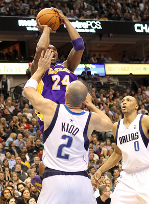 DALLAS - FEBRUARY 24:  Kobe Bryant #24 of the Los Angeles Lakers shoots over Jason Kidd #2 of the Dallas Mavericks which moved him into 13th place on the NBA all time scoring list on February 24, 2010 at American Airlines Center in Dallas, Texas.  NOTE TO
