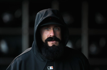 SAN FRANCISCO, CA - MAY 11:  Brian Wilson #38 of the San Francisco Giants stands in the dugout before their game against the Arizona Diamondbacks at AT&T Park on May 11, 2011 in San Francisco, California.  (Photo by Ezra Shaw/Getty Images)