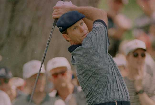 14 Jun 1996:  Payne Stewart hits a tee shot on number eight during the second round of the U.S. Open at Oakland Hills Country Club in Bloomfield Hills, Michigan.  Mandatory Credit: Doug Pensinger/ALLSPORT
