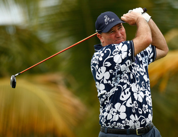 RIO GRANDE, PUERTO RICO - MARCH 21:  Duffy Waldorf hits his tee shot on the 10th hole during the second round of the Puerto Rico Open presented by Banco Popular held on March 21, 2008 at Coco Beach Golf & Country Club in Rio Grande, Puerto Rico.  (Photo b