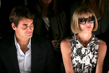 Roger Federer and Anna Wintour; the smugness in this photograph is so thick, you can cut it with a knife.