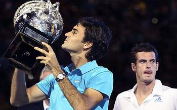 Federer may look happy here, but he hasn't hoisted a meaningful trophy in over a year.