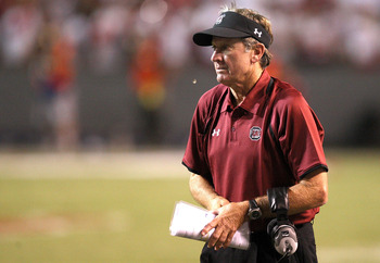 RALEIGH, NC - SEPTEMBER 03:  Head coach Steve Spurrier of the South Carolina Gamecocks watches on from the sidelines against the North Carolina State Wolfpack during their game at Carter-Finley Stadium on September 3, 2009 in Raleigh, North Carolina.  (Ph