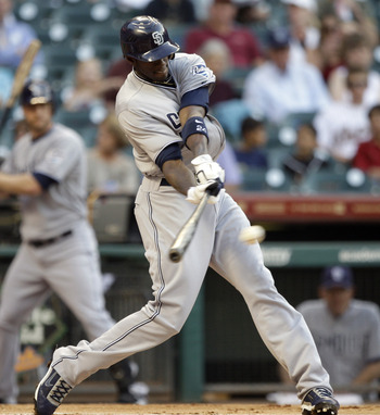 HOUSTON - APRIL 15:  Cameron Maybin #24 of the San Diego Padres singles in the first inning against the Houston Astros in the first inning at Minute Maid Park on April 15, 2011 in Houston, Texas.  (Photo by Bob Levey/Getty Images)