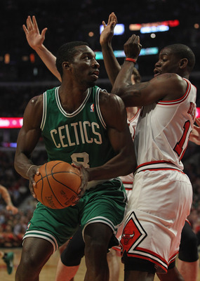 CHICAGO, IL - APRIL 07: Jeff Green #8 of the Boston Celtics moves against Ronnie Brewer #11 of the Chicago Bulls at United Center on April 7, 2011 in Chicago, Illinois. The Bulls defeated the Celtics 97-81. NOTE TO USER: User expressly acknowledges and ag
