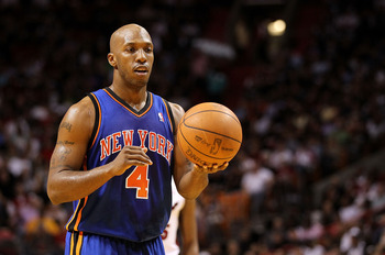 MIAMI, FL - FEBRUARY 27:  Chauncey Billups #4 of the New York Knicks shoots a foul shot during a game gainst the Miami Heat at American Airlines Arena on February 27, 2011 in Miami, Florida. NOTE TO USER: User expressly acknowledges and agrees that, by do