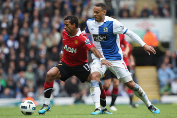 BLACKBURN, ENGLAND - MAY 14:  Nani (L) of Manchester United and Jermaine Jones (R) of Blackburn Rovers during the Barclays Premier League match between Blackburn Rovers and Manchester United at Ewood Park on May 14, 2011 in Blackburn, England.  (Photo by