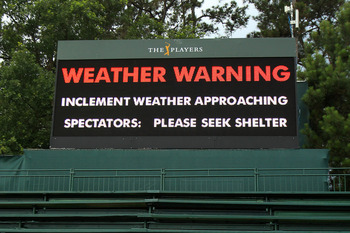PONTE VEDRA BEACH, FL - MAY 14:  A warning sign is seen after play was suspended due to severe storms during the third round of THE PLAYERS Championship held at THE PLAYERS Stadium course at TPC Sawgrass on May 14, 2011 in Ponte Vedra Beach, Florida.  (Ph