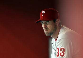 PHOENIX, AZ - APRIL 26:  Cliff Lee #33 of the Philadelphia Phillies watches from the dugout during the Major League Baseball game against the Arizona Diamondbacks at Chase Field on April 26, 2011 in Phoenix, Arizona. The Diamondbacks defeated the Phillies