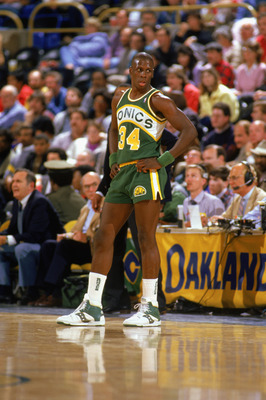 OAKLAND, CA - 1988:  Xavier McDaniel #3 of the Seattle Supersonics waits for play in a game against the Golden State Warriors during the 1987-1988 NBA season at The Oakland/Alameda County Coliseum Arena in Oakland, California.  (Photo by Otto Greule Jr/Ge