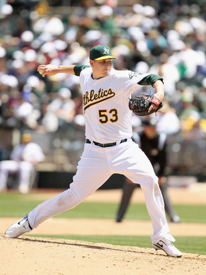 OAKLAND, CA - MAY 15:  Trevor Cahill #53 of the Oakland Athletics pitches against the Chicago White Sox at Oakland-Alameda County Coliseum on May 15, 2011 in Oakland, California.  (Photo by Ezra Shaw/Getty Images)