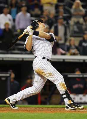 NEW YORK, NY - MAY 13:  Mark Teixeira #25 of the New York Yankees pops up to end the game losing 5-4 against the Boston Red Sox  on May 13, 2011 at Yankee Stadium in the Bronx borough of New York City.  (Photo by Al Bello/Getty Images)