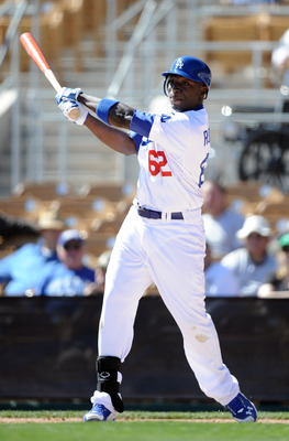 PHOENIX, AZ - FEBRUARY 28:  Trayvon Robinson #62 of the Los Angeles Dodgers at bat during spring training at Camelback Ranch on February 28, 2011 in Phoenix, Arizona.  (Photo by Harry How/Getty Images)