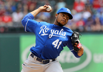 ARLINGTON, TX - APRIL 24:  Pitcher Jeremy Jeffress #41 of the Kansas City Royals throws against the Texas Rangers at Rangers Ballpark in Arlington on April 24, 2011 in Arlington, Texas.  (Photo by Ronald Martinez/Getty Images)