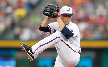 ATLANTA - JULY 02:  Pitcher Kris Medlen #54 of the Atlanta Braves against the Florida Marlins at Turner Field on July 2, 2010 in Atlanta, Georgia.  (Photo by Kevin C. Cox/Getty Images)