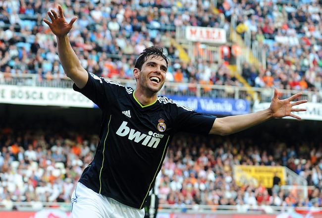 VALENCIA, SPAIN - APRIL 23:  Kaka of Real Madrid celebrates after scoring his second goal against Valencia during the La Liga match between Valencia and Real Madrid at Estadio Mestalla on April 23, 2011 in Valencia, Spain.  (Photo by Denis Doyle/Getty Ima