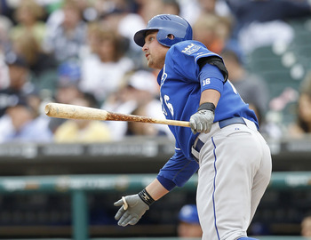 DETROIT, MI - MAY 14:  Billy Butler #16 of the Kansas City Royals doubles to deep left center field during the fourth inning of the game against the Detroit Tigers at Comerica Park on May 14, 2011 in Detroit, Michigan. The Tigers defeated the Royals 3-0.
