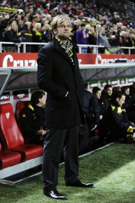 SEVILLE, SPAIN - DECEMBER 15:  Head coach Jurgen Klopp of Borussia Dortmund looks on prior the UEFA Europa League group J match between Sevilla and Borussia Dortmund at Estadio Ramon Sanchez Pizjuan on December 15, 2010 in Seville, Spain. The match ended