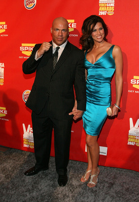 LAS VEGAS - DECEMBER 07:  Pro wrestler Kurt Angle (L) and wife Karen Angle arrive at Spike TV's 2007 'Video Game Awards' at the Mandalay Bay Events Center on December 7, 2007 in Las Vegas, Nevada.  (Photo by Frazer Harrison/Getty Images)