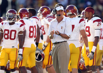 MINNEAPOLIS - SEPTEMBER 18:  Head coach Lane Kiffin of the USC Trojans looks on during a timeout in the game against the Minnesota Golden Gophers on September 18, 2010 at TCF Bank Stadium in Minneapolis, Minnesota.  (Photo by Jamie Squire/Getty Images)