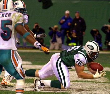 Jets former offensive tackle, Jumbo Elliot catching first touchdown of his career against the Dolphins.