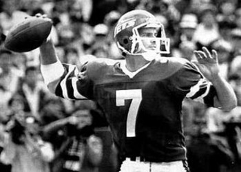 Jets Quarterback Ken O' Brien against the Miami Dolphins.