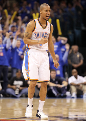 OKLAHOMA CITY, OK - MAY 03:  Guard Eric Maynor #6 of the Oklahoma City Thunder reacts after a three-point shot against the Memphis Grizzlies in Game Two of the Western Conference Semifinals in the 2011 NBA Playoffs on May 3, 2011 at Oklahoma City Arena in