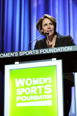NEW YORK - OCTOBER 13:  Tennis player/sportscaster Mary Carillo speaks onstage during the 30th Annual Salute To Women In Sports Awards at The Waldorf=Astoria on October 13, 2009 in New York City.  (Photo by Stephen Lovekin/Getty Images for the Women�s Spo