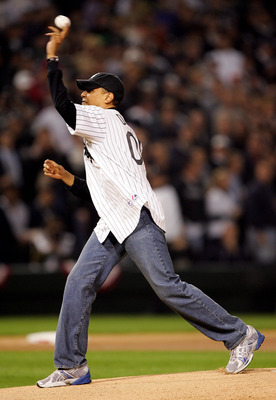 CHICAGO - OCTOBER 12:  U.S. Senator for Illinois, Barack Obama, throws out the ceremonial first pitch prior to the start of Game Two of the American League Championship Series between the Chicago White Sox and the Los Angeles Angels of Anaheim on October